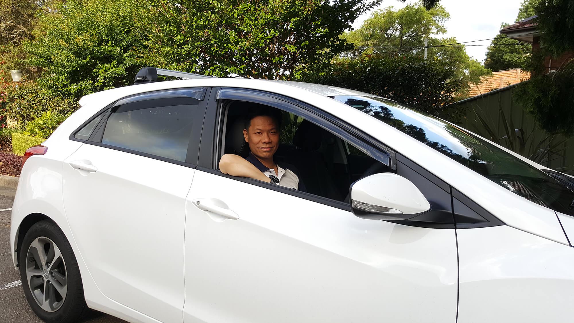 Driving Instructor Rockdale inside car Dannyl